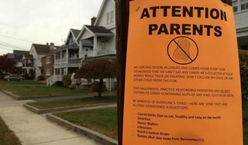 Poster put up in neighbourhood for Halloween allergies