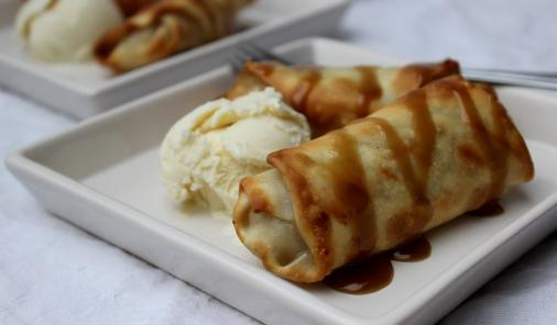 Baked Banana Egg Rolls with Caramel-Rum Sauce are delicious and easy to prepare