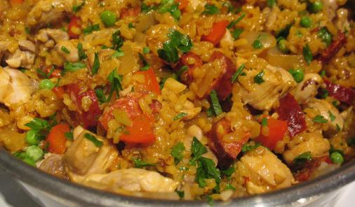Quick Chicken Paella with Spicy Chorizo Recipe