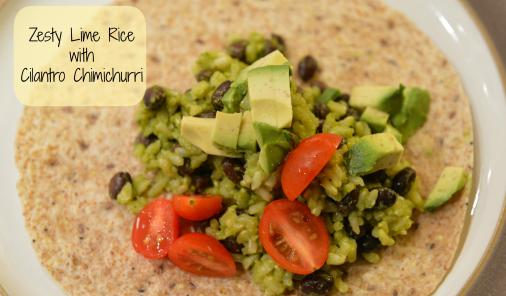 cilantro chimichurri with black beans, rice, tomato, and avocado