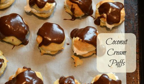 Coconut cream puffs with chocolate glaze.