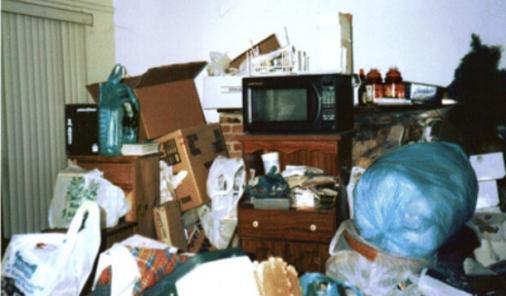 hoarder's living room