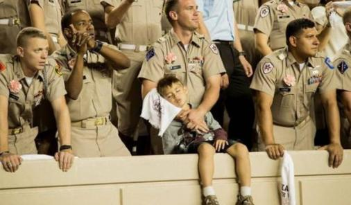 Kevin Ivey and Son Calvin attend football game at Texas College