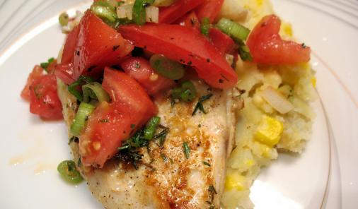 Lemon Herb Chicken with Corn Mashed Taters Recipe