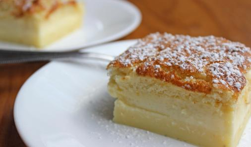 Magic cake is an easy recipe that produces a surprising 3 layer dessert