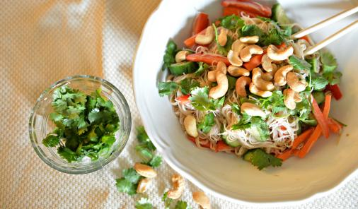 noodle salad with cilantro and cashews