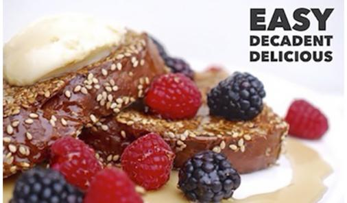 Sesame Crusted French Toast with Mascarpone Cream & Berries