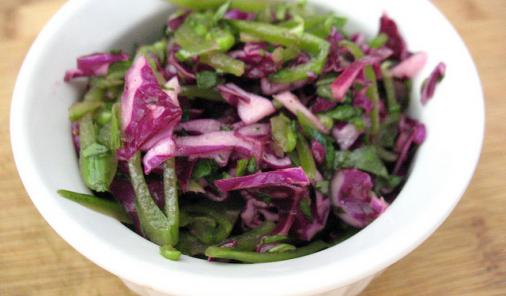 Snap pea cabbage slaw