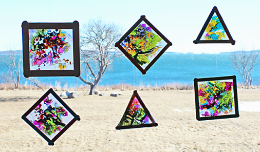 These easy DIY Spring Sun Catchers will not only keep birds from crashing into your glass doors, they'll bring some bright colour into your life! And your kids will have lots of fun making them. | YMC