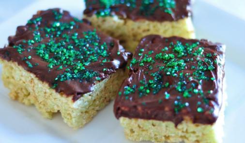 Mint Chocolate Rice Krispies Squares