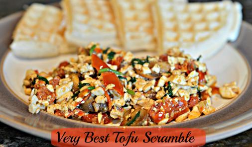 tofu scramble with waffles