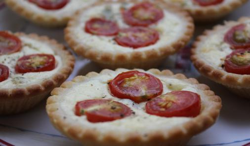 Ripe tomatoes and tangy chevre make delicious tart filling