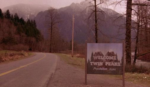 Sign welcoming viewers to the town of Twin Peaks