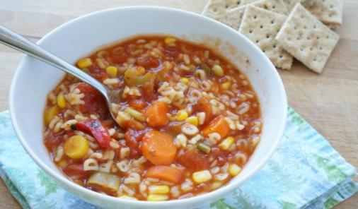 Why would anyone make DIYVegetable Alphabet Soup, when it is so easy to open a can?This homemade soup is incredibly delicious - like drop your spoon on the floor delicious. | YMCFood | YummyMummyClub.ca