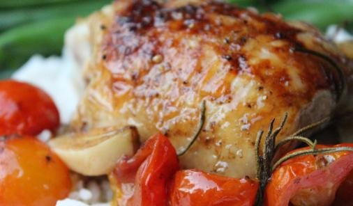 Roasted Chicken with cherry tomatoes, garlic and herbs