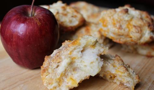The flavours of apple pie with cheese make these biscuits a family favourite