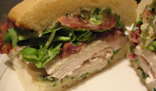 Chicken and Bacon Sandwiches with Arugula Mayonnaise Recipe