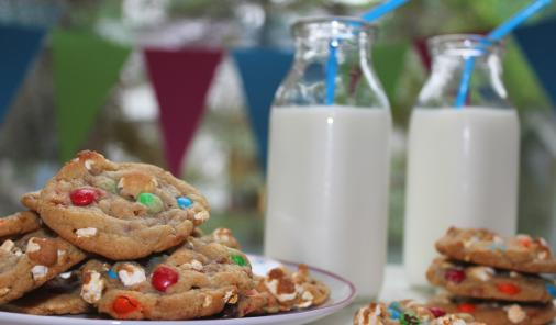 Buttery popcorn, toffee and colourful chocolate candies make these cookies delicious and festive