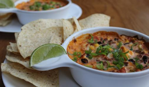Cheesy enchilada dip is a great way to enjoy leftover turkey, beef or ham