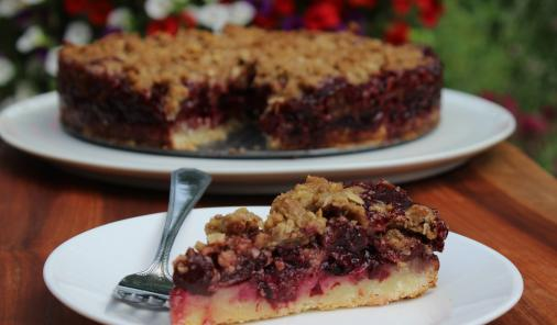 With no pastry to fuss over, this cherry pie is super fast and really delicious