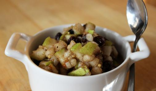 Diced pears, onions and seasoning make a fast, flavourful no-cook chutney