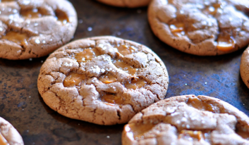 Salted caramel cocoa cookies