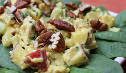 Curried Chicken Salad is a delicious way to use up leftover cooked chicken