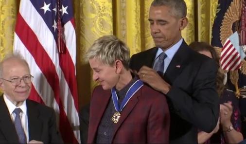 Ellen DeGeneres and President Obama