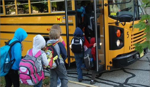 following the school bus to school