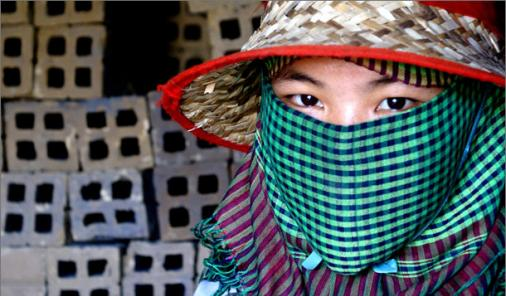 Cambodian Girl Working in a Brick Factory
