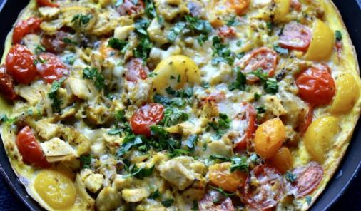 You can take leftovers like rice and chicken, add a few cherry tomatoes, and have a tasty Tomato, Rice and Chicken Frittata for dinner in less time than it takes to order a pizza. | 15 Minute Meals | Recipes | YMCFood | YummyMummyClub.ca
