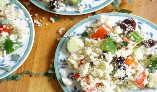 Greek Salad with Cauliflower Couscous
