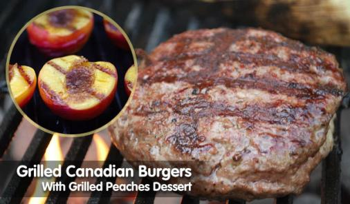 grilled burgers and grillled peaches