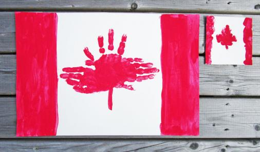 Kids can make Canada flags using their hand and finger prints