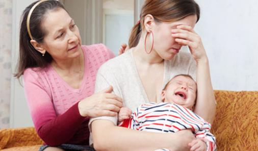 mother with crying baby