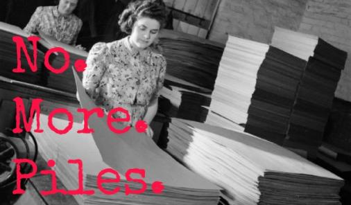 woman surrounded by paper
