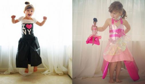 girl making oscar dresses out of paper