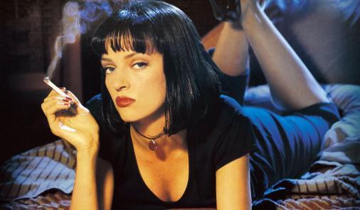 Uma Thurman on Pulp Fiction poster