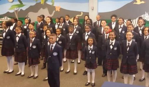 kids choir singing Pharrell's song Happy