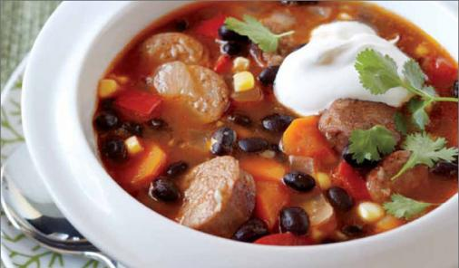 Slow Cooker Black Bean and Chorizo Soup Recipe