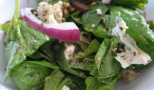Hazelnut Blue Cheese Spinach Salad Recipe