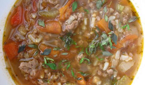 Veggie Beef and Brown Rice Soup Recipe