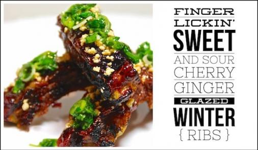 Sweet and Sour Cherry Ginger Glazed Winter Ribs