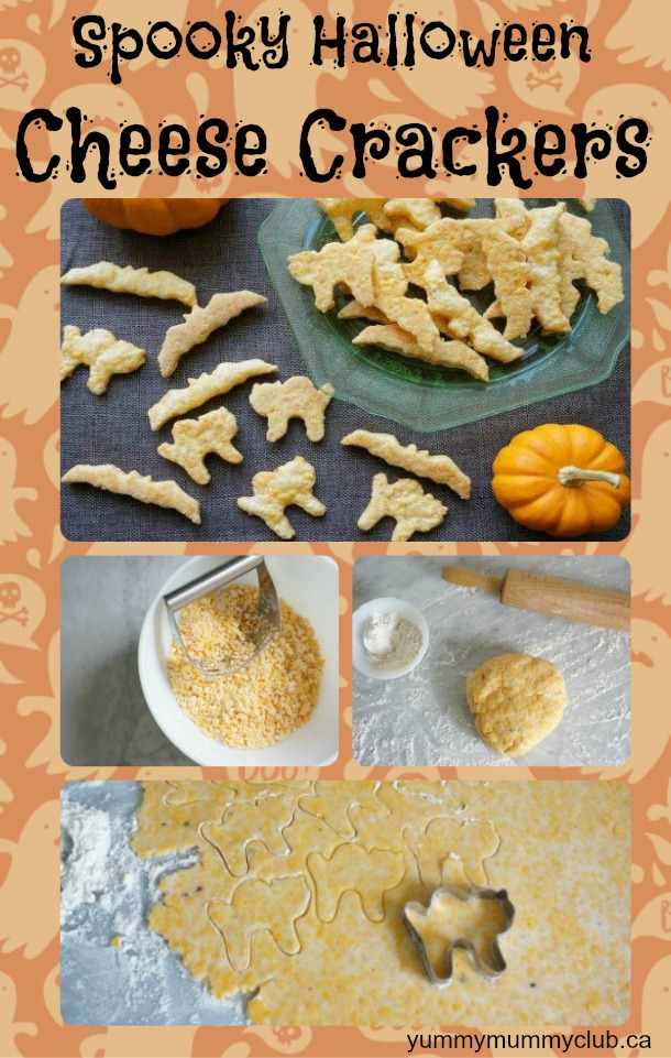These kid-friendly homemade Halloween cheesy crackers are a great, healthy alternative to sugary candy, and fun for your children to help you make, too! Cheddar gives it a rich, deliciously deep cheese flavour that everyone will love in soups and dipping. | Recipes | Vegetarian | YummyMummyClub.ca