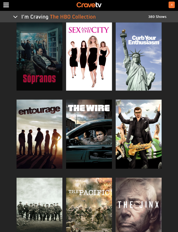 Crave TV HBO selection