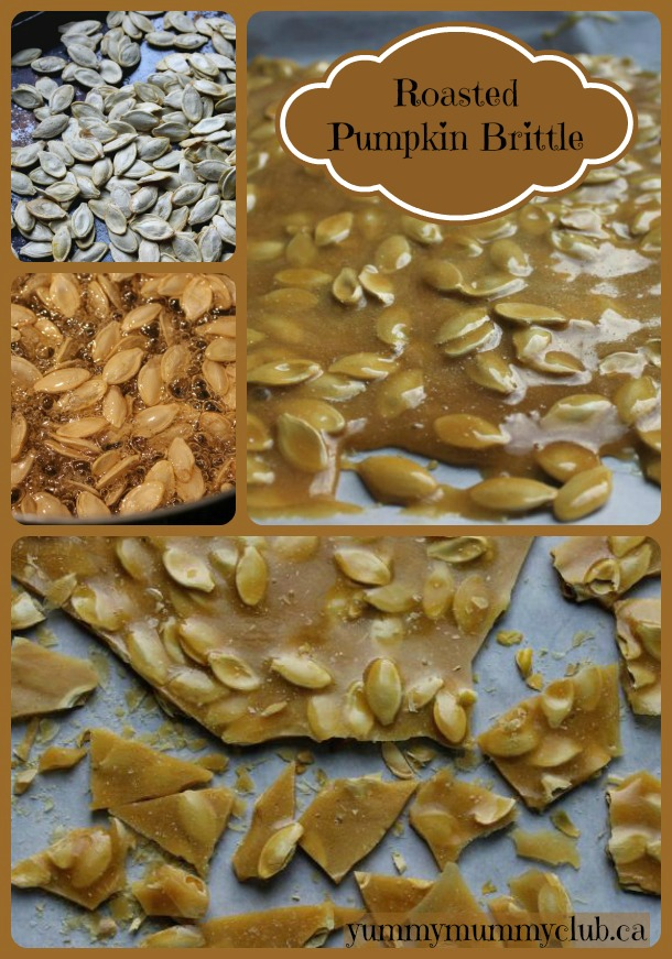 JM - AR After carving the pumpkin, make some Roasted Pumpkin Seed Brittle recipe this Halloween! Not only is this sweet treat delicious on its own, you can use it as a pretty fall garnish for cheesecake or panna cotta. All you need is a candy thermometer! | YMCFood | YummyMummyClub.ca