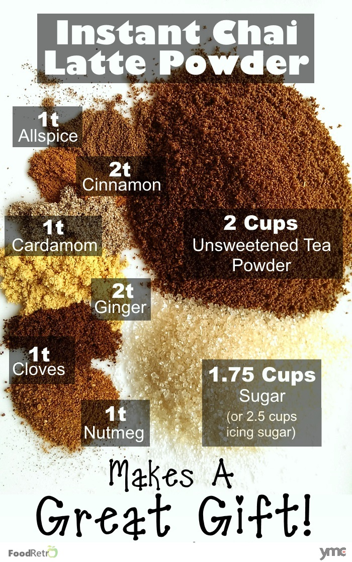 This instant chai powder tastes just like chai lattes from the coffee shops. The seasoning mix itself is dairy free and vegan, so it's great to give away as a tasty frugal homemade Christmas Gift! | FoodRetro.com | YummyMummyClub.ca