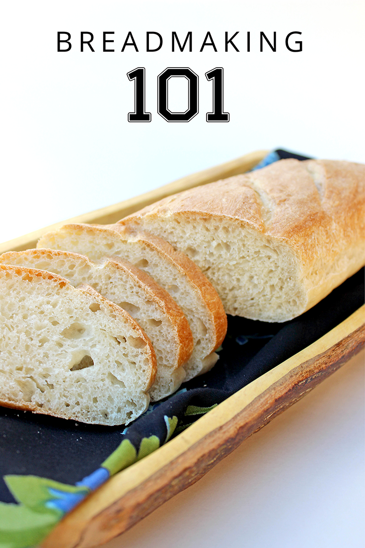 This homemade baguette recipe is a great kitchen project for little ones. Have playtime while they wait between stages. You can shape it into freeform skinny loaves or fashion a tinfoil 'trough' to hold the dough into a traditional baguette shape for its final rise and baking. | YMC