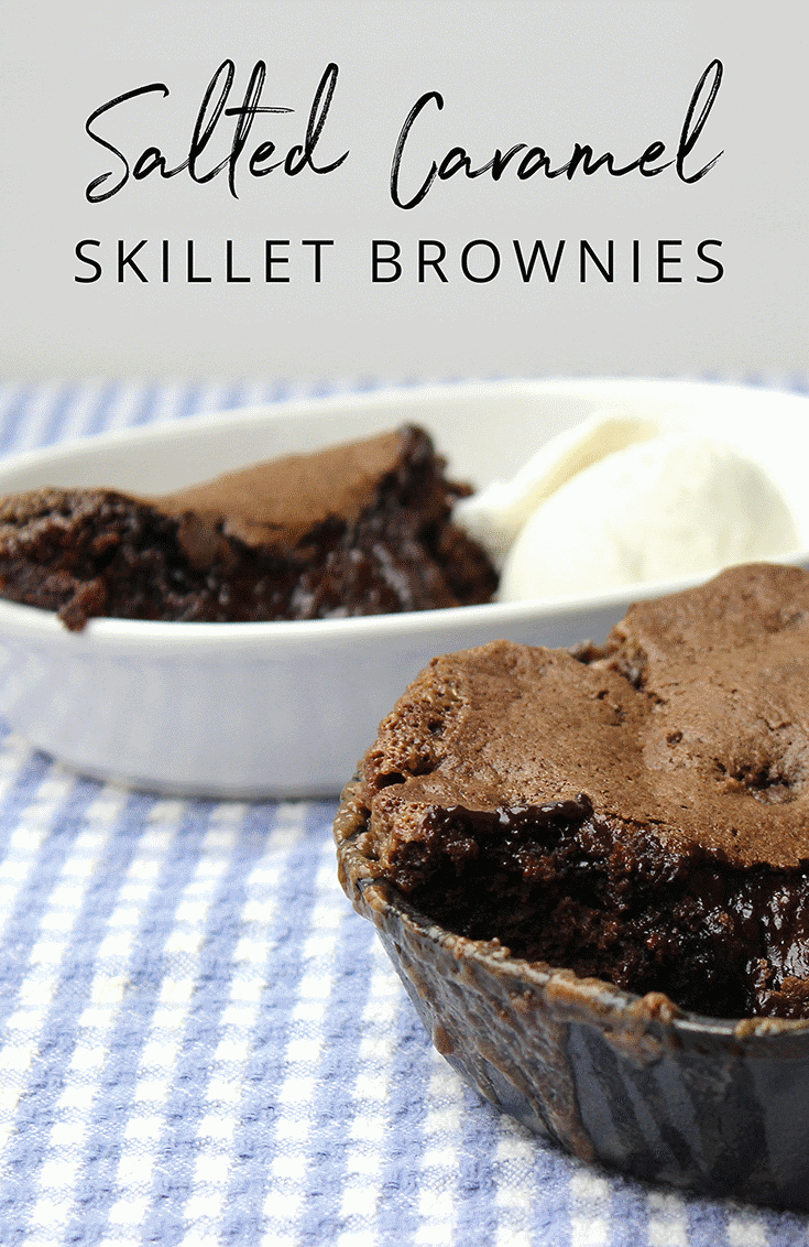 These skillet brownies were delicious for days after baking; it's the combination of moist brownie batter and rich salted caramel sauce that does the trick. | YMC