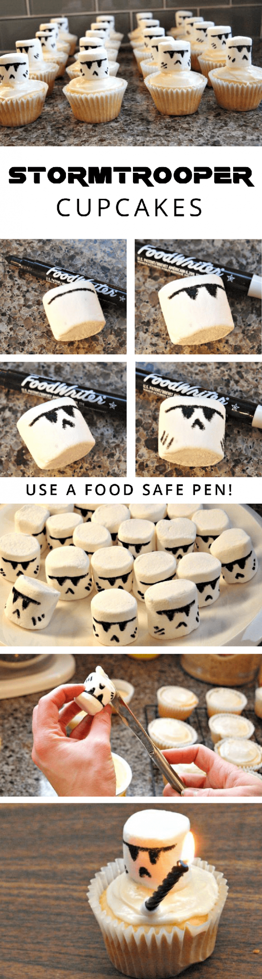 A black food pen makes it simple and easy to create these special Clone and Stormtrooper Cupcakes for birthday parties and special occasions! | YMC